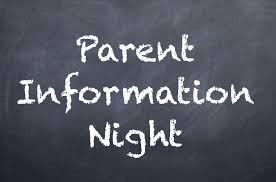 Parent Information Evening - 26th May