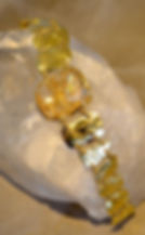 Hot off the bench! 67ct Fine Rutilated Quartz. almost 2oz 18K gold. Reticulated surface w/ linier hammer strikes.