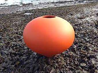 Orange fired atom sudio pot by Rob Sollis