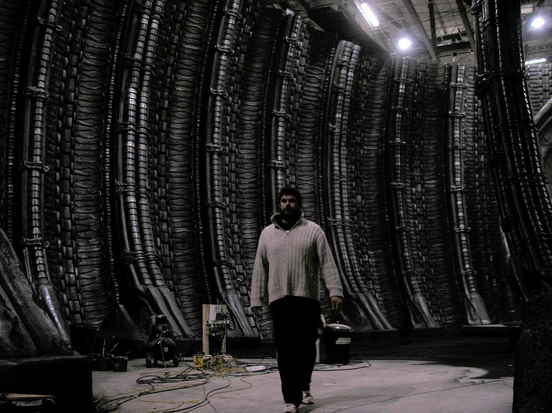 Rob on set: alien Cathedral.