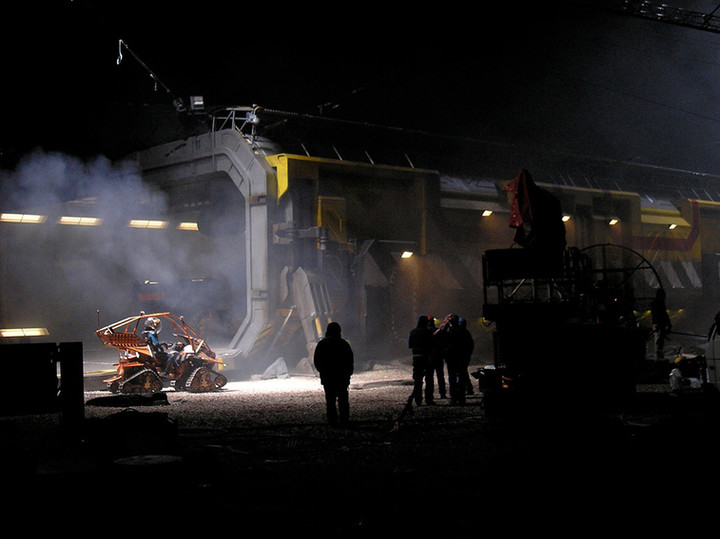Scene filming the lower hull of the Prometheus spaceship.