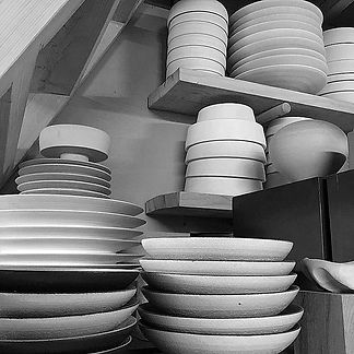 Rob Sollis stacks of tableware handthrow