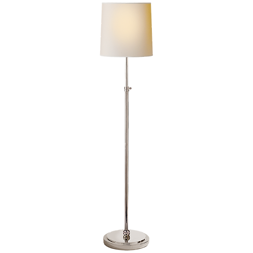 Bryant Floor Lamp in Polished Nickel with Natural Paper Shade