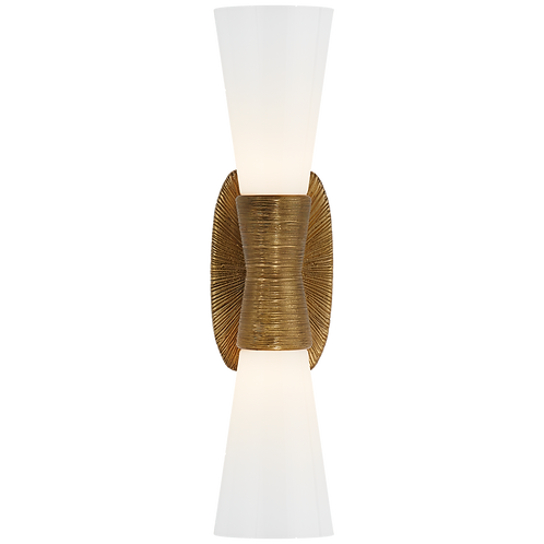 Utopia Small Double Bath Sconce in Gild with White Glass