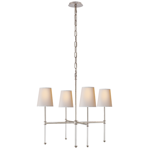 Camille Small Chandelier in Polished Nickel with Natural Paper Shades