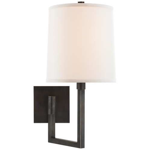 Aspect Small Articulating Sconce in Bronze with Ivory Linen Shade