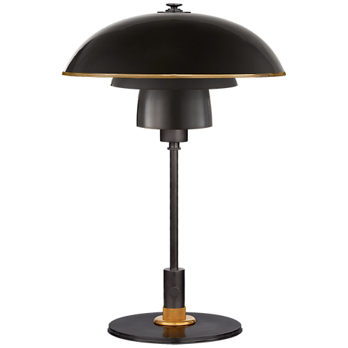 Whitman Desk Lamp in Bronze and Hand- Rubbed Antique Brass with Brass Trimmed