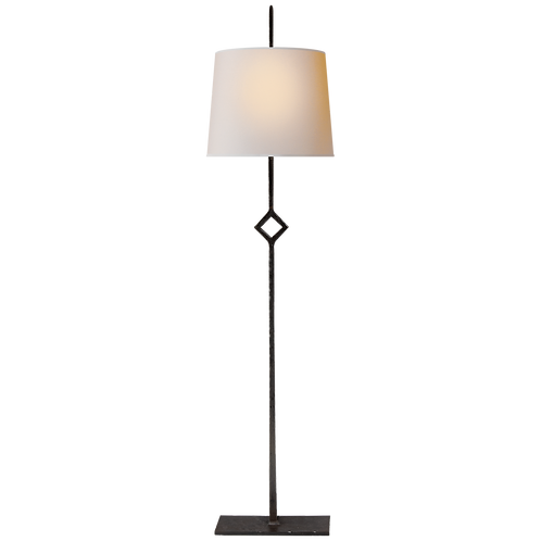 Cranston Buffet Lamp in Aged Iron with Natural Paper Shade