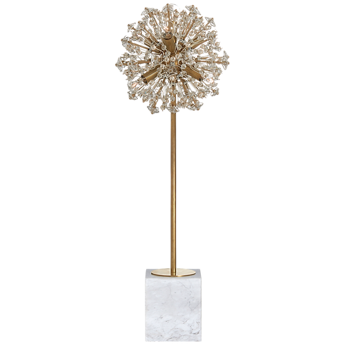 Dickinson Buffet Table Lamp in Soft Brass and White Marble with Clear Glass and