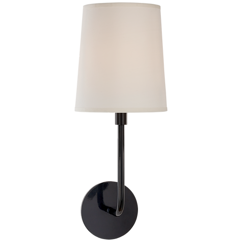 Go Lightly Sconce in Charcoal with Silk Shade