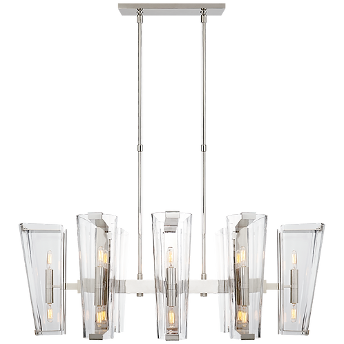 Alpine Medium Linear Chandelier in Polished Nickel with Clear Glass