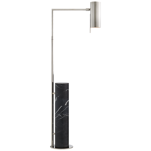 Alma Floor Lamp in Polished Nickel and Black Marble