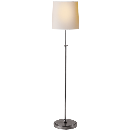 Bryant Floor Lamp in Antique Silver with Natural Paper Shade