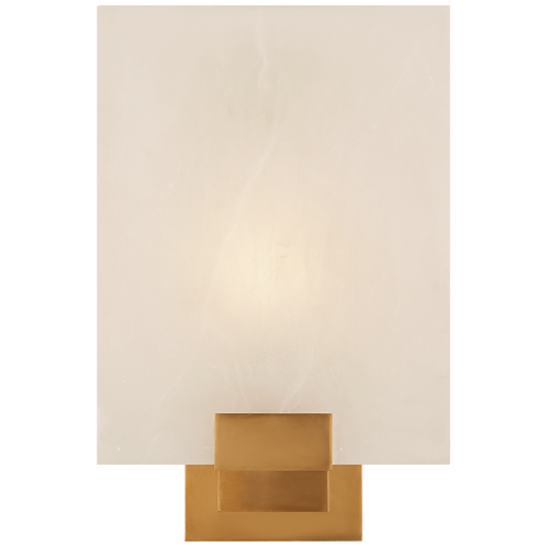 Henson Single Sconce in Hand-Rubbed Antique Brass with Alabaster
