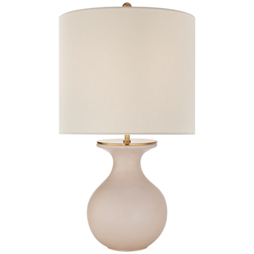 Albie Small Desk Lamp in Blush with Cream Linen Shade