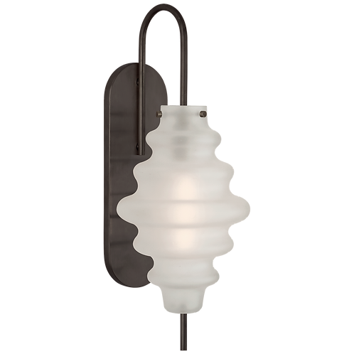 Tableau Large Sconce in Bronze with Volcanic Glass