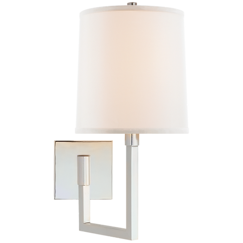 Aspect Small Articulating Sconce in Soft Silver with Ivory Linen Shade