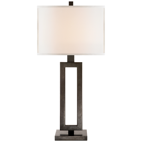Mod Tall Table Lamp in Aged Iron with Linen Shade