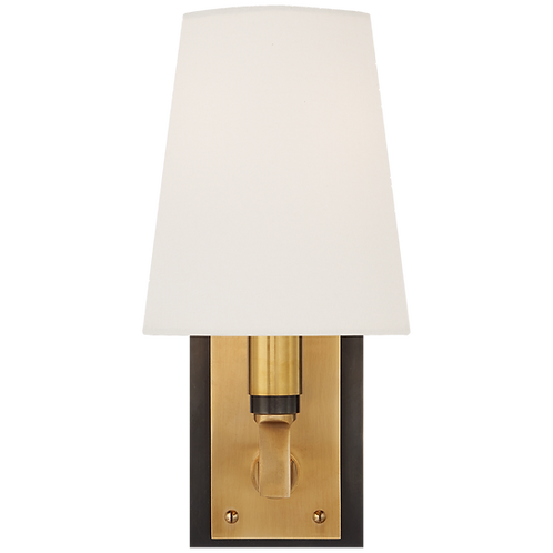 Watson Small Sconce in Bronze and Hand- Rubbed Antique Brass with Linen Shade