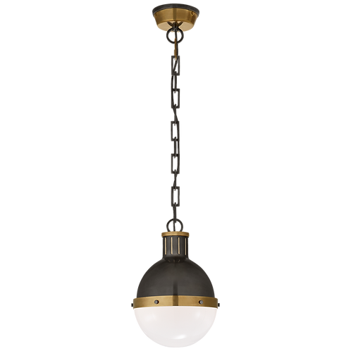 Hicks Small Pendant in Bronze and Hand- Rubbed Antique Brass with White Glass