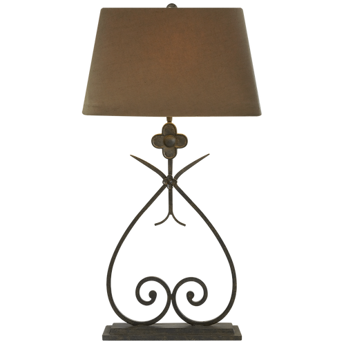 Harper Table Lamp in Natural Rust with Taupe Linen Shade
