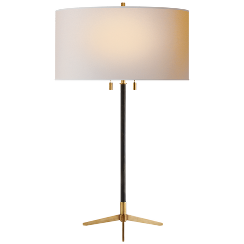 Caron Table Lamp in Bronze and Hand- Rubbed Antique Brass with Natural Paper
