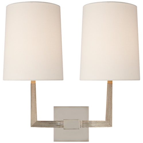 Ojai Large Double Sconce in Polished Nickel with Linen Shade