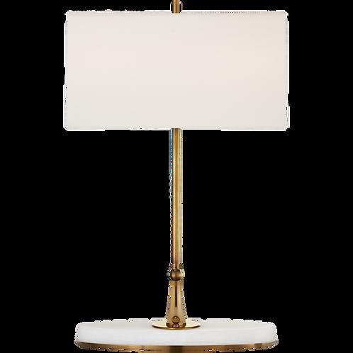 Casper Medium Table Lamp in Antique Brass & Alabaster with Linen Shade
