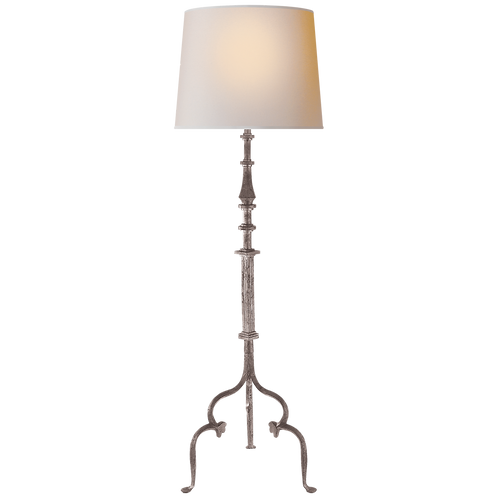 Madeleine Floor Lamp in Belgian White with Natural Paper Shade