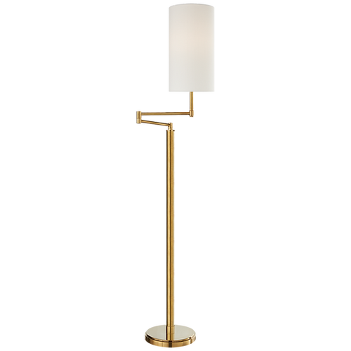Anton Large Swing Arm Floor Lamp in Hand- Rubbed Antique Brass with Linen Shade