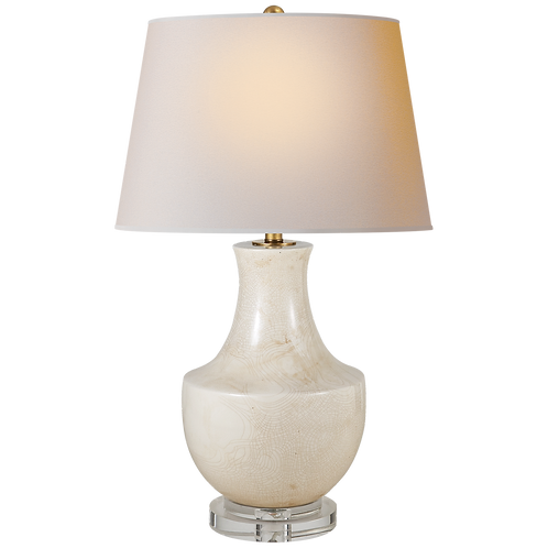 Arc Pot Form Table Lamp in Tea Stain Porcelain with Natural Paper Shade