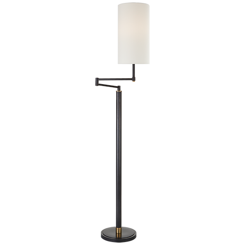 Anton Large Swing Arm Floor Lamp in Bronze & Antique Brass & Linen Shade