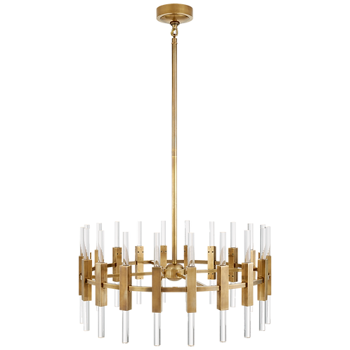 Palomar Small Rotating Chandelier in Antique Brass & Clear Acrylic