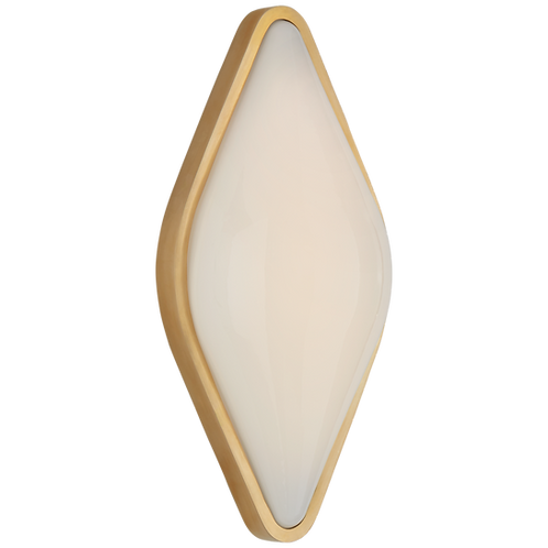 Ezra Medium Bath Sconce in Hand-Rubbed Antique Brass with White Glass