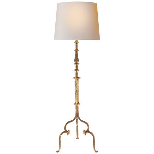 Madeleine Floor Lamp in Gilded Iron with Natural Paper Shade