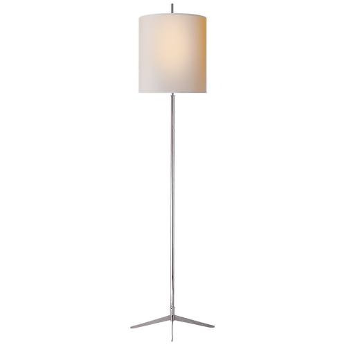 Caron Floor Lamp in Polished Nickel with Natural Paper Shade