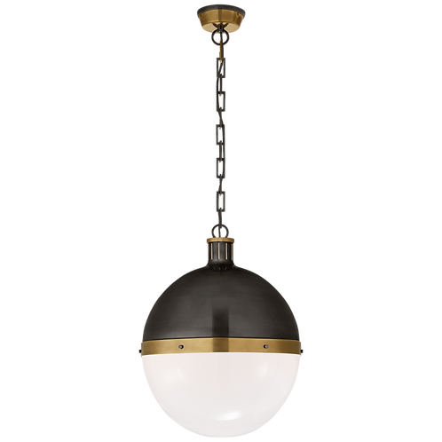 Hicks Extra Large Pendant in Bronze and Hand-Rubbed Antique Brass & White Glass