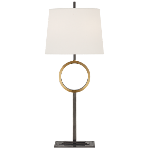 Simone Medium Buffet Lamp in Bronze and Hand-Rubbed Antique Brass with Linen