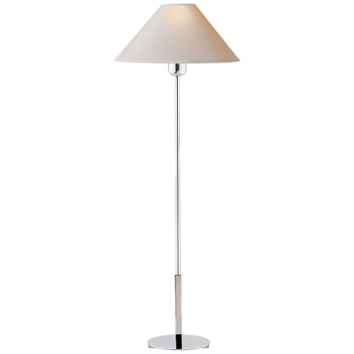 Hackney Buffet Lamp in Polished Nickel with Natural Paper Shade