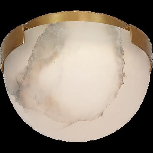 """Melange 5"""" Solitaire Flush Mount in Antique-Burnished Brass & Alabaster"""
