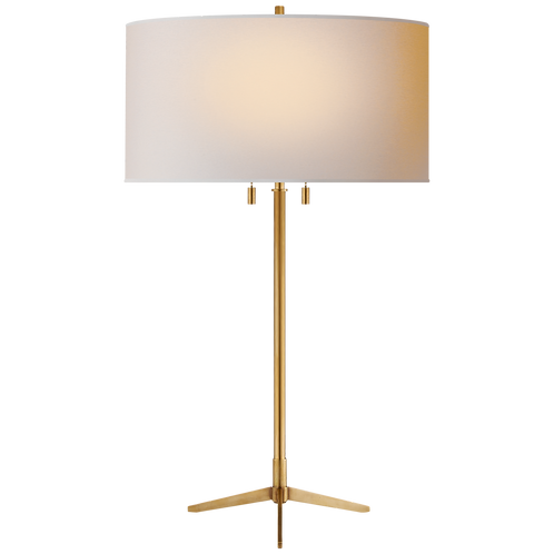 Caron Table Lamp in Hand-Rubbed Antique Brass with Natural Paper Shade