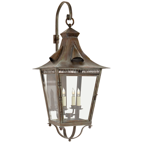 Orleans Large Bracketed Lantern in Weathered Verdigris with Clear Glass