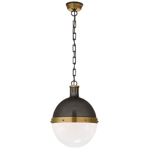 Hicks Large Pendant in Bronze and Hand- Rubbed Antique Brass with White Glass