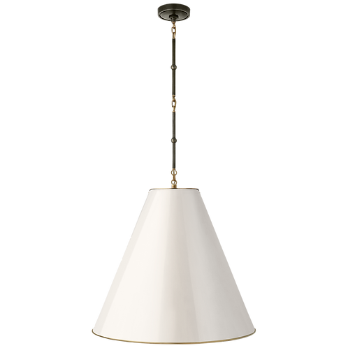 Goodman Large Hanging Lamp in Bronze & Antique Brass with White Shade