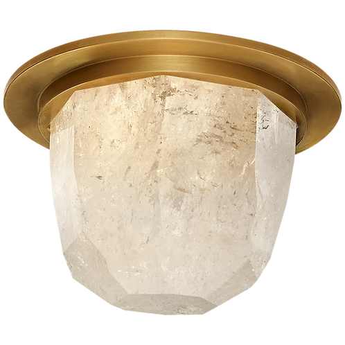 """Halcyon 5"""" Solitaire Flush Mount in Antique- Burnished Brass and Quartz"""