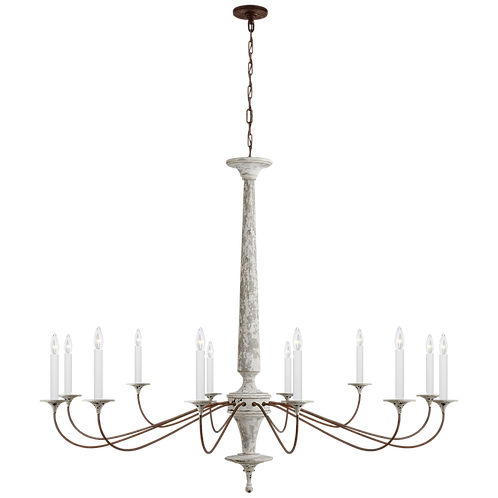 Bordeaux Grande Chandelier in Swedish White and Natural Rust