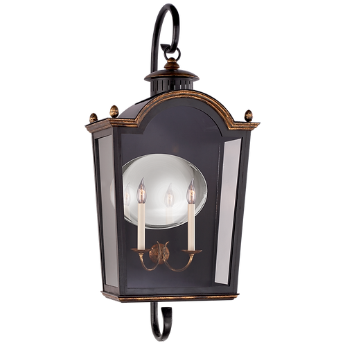 Brinkley Large Bracketed Lantern in Old Black Tole with Clear Glass