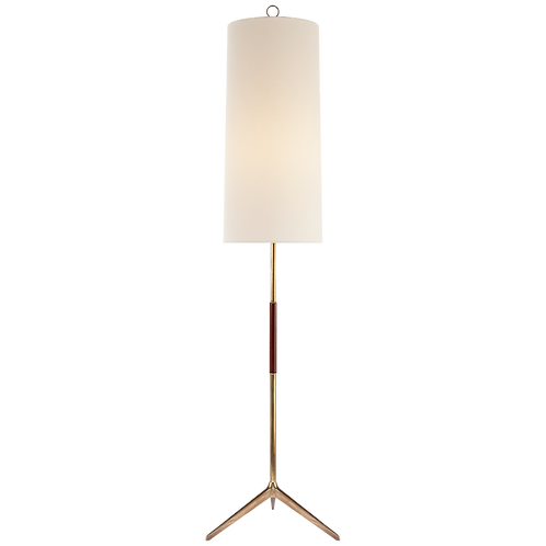 Frankfort Floor Lamp in Hand-Rubbed Antique Brass with Mahogany Accents and Line