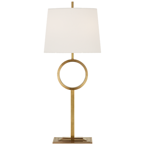 Simone Medium Buffet Lamp in Hand- Rubbed Antique Brass with Linen Shade