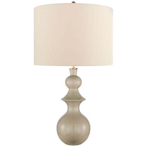 Saxon Large Table Lamp in Dove Grey with Cream Linen Shade